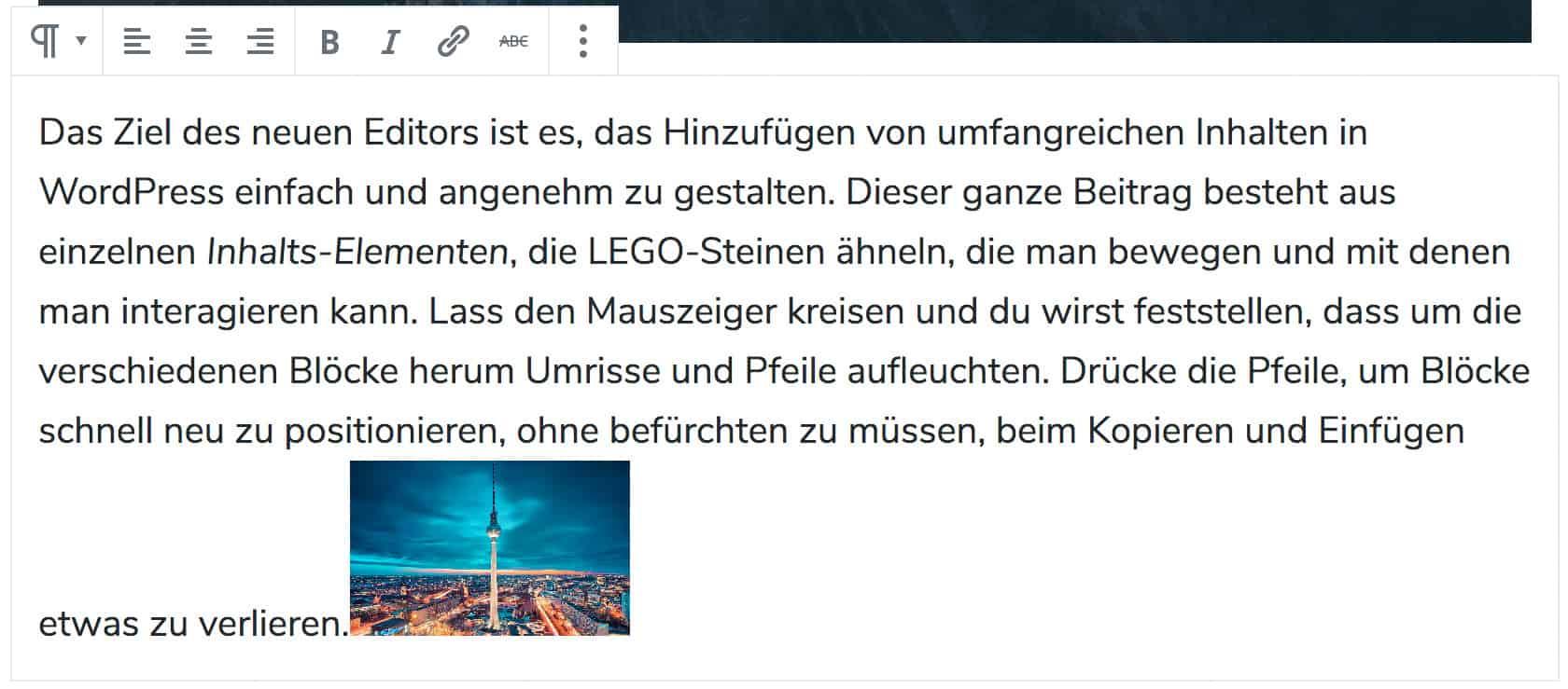 Screenshot eines Beispiels zum Inline-Bild. Ein Bild des Berliner Fernsehturms wurde am Ende eines Absatz-Blocks hinzugefügt.