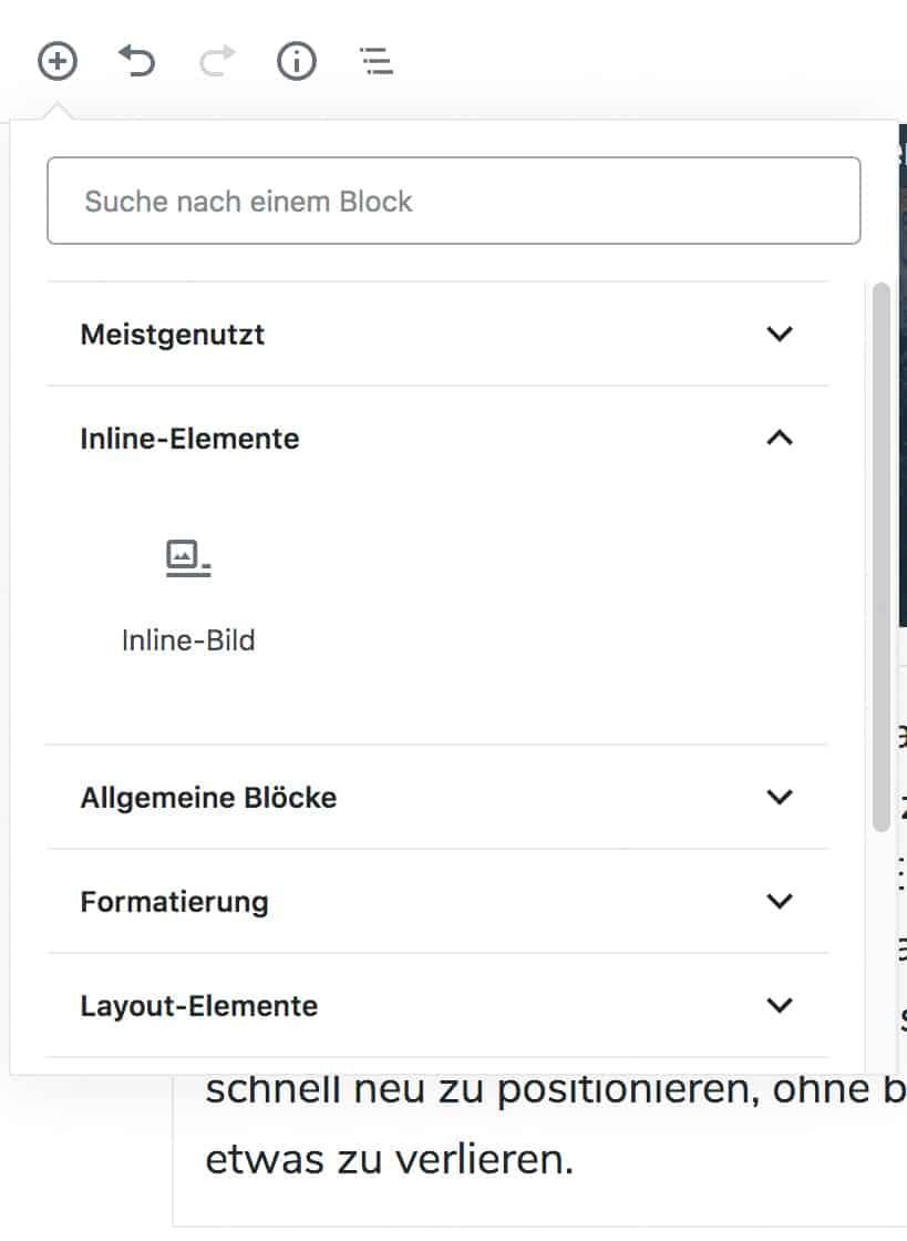 Screenshot des Inserter-Werkzeugs, mit geöffneter Inline-Elemente-Kategorie, die den darin enthaltenen Inline-Bild-Block zeigt.