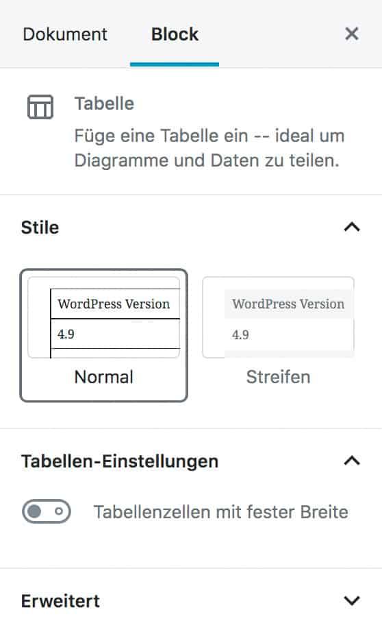 Screenshot der Tabellen-Einstellungen in der Seitenleiste.