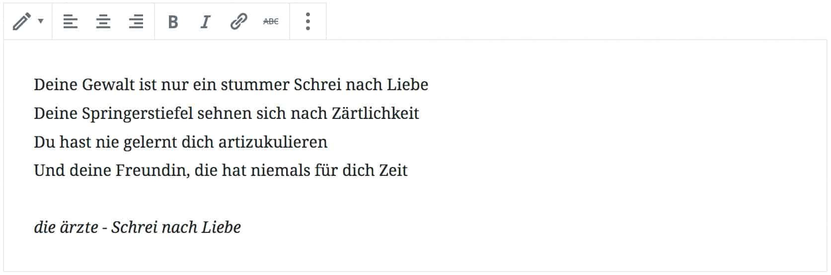 """Screenshot des Vers-Blocks, mit einem hinzugefügten Liedtext von die ärzte aus dem Song """"Schrei nach Liebe""""."""
