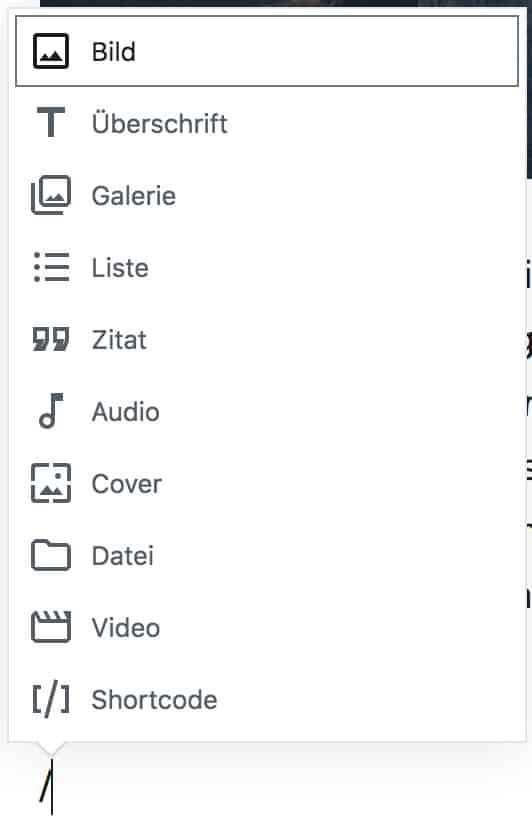 Screenshot des Auswahlfensters, wenn im Absatz-Block ein Schrägstrich eingetippt wird.
