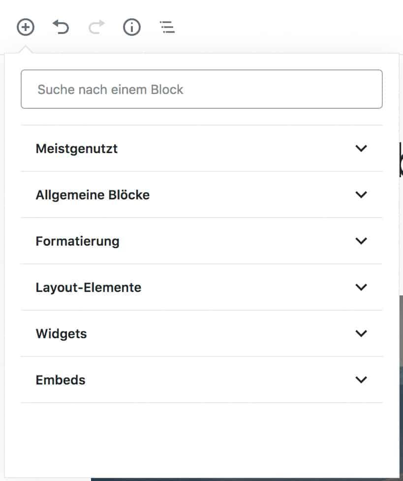 Screenshot des geöffneten Inserter-Werkzeugs mit geschlossenem Meistgenutzt-Tab. Alle Kategorien sind sichtbar.