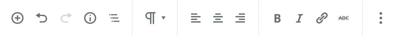 Screenshot der linken Seite der oberen Editor-Leiste, wenn die erweiterte Werkzeugleiste aktiviert ist. Die Block-Werkzeugleiste wird dort angezeigt.