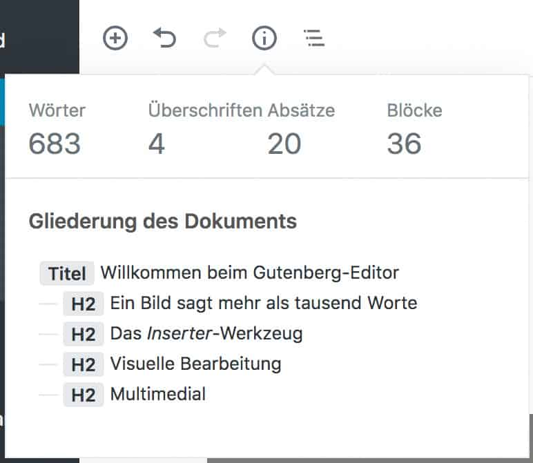 Screenshot des geöffneten Fensters der Beitragsinformationen.
