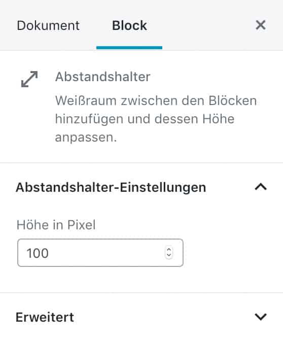 Screenshot der Abstandshalter-Einstellungen in der Seitenleiste.