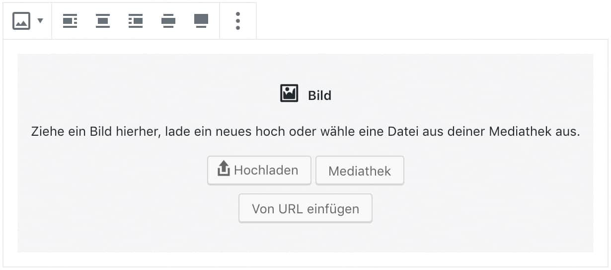 Screenshot des Bild-Blocks, ohne das Inhalt hinzugefügt wurde.