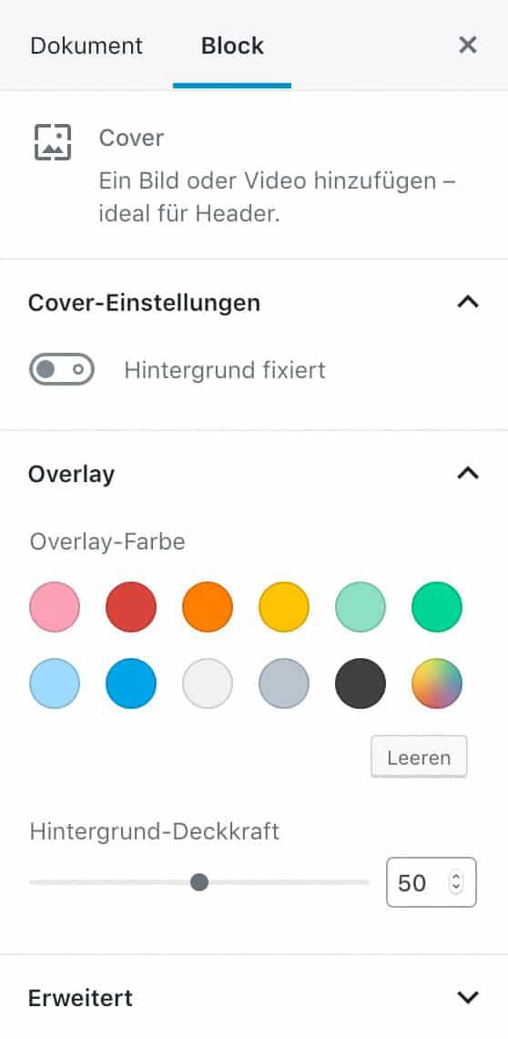 Screenshot der Cover-Einstellungen in der Seitenleiste.