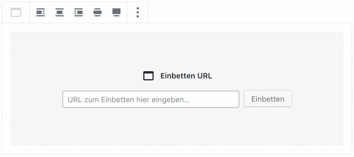 Screenshot des Einbetten-Blocks, ohne das Inhalt hinzugefügt wurde.