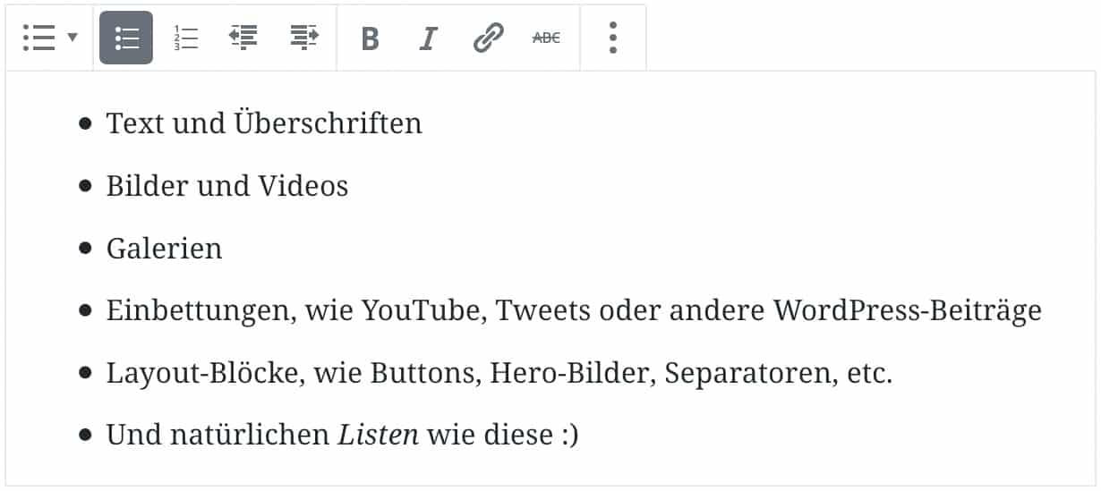Screenshot des Listen-Blocks, als Beispiel wurden sechs Punkte mit Beispiel-Text zur Liste hinzugefügt.