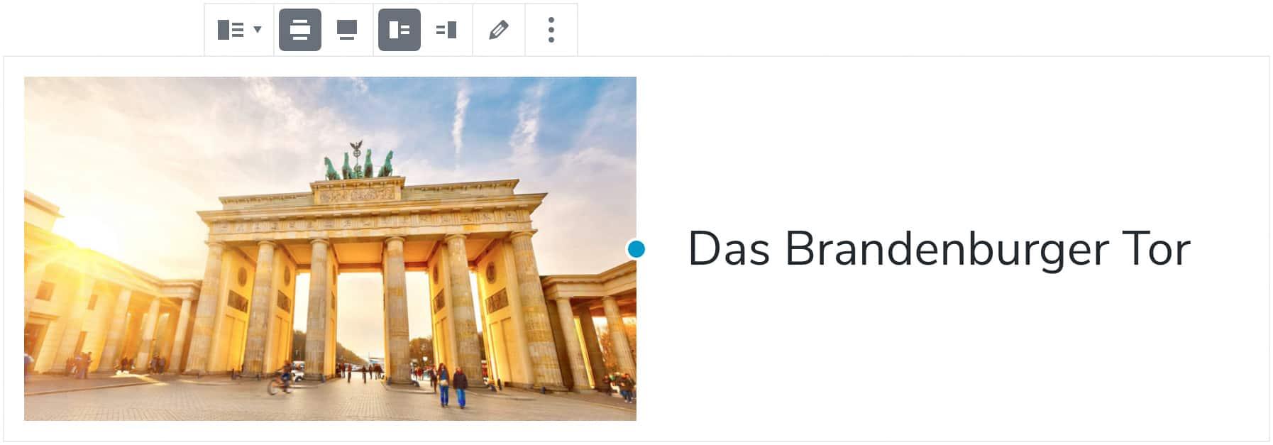 """Screenshot des Medien-und-Text-Blocks, nachdem ein Bild vom Brandenburger Tor und der Text """"Das Brandenburger Tor"""" hinzugefügt wurde."""