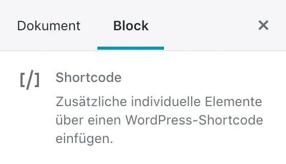 Screenshot der Shortcode-Einstellungen in der Seitenleiste.