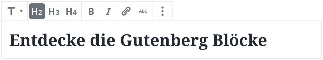 Screenshot des Überschriften-Blocks, mit einer Beispielüberschrift als Inhalt.