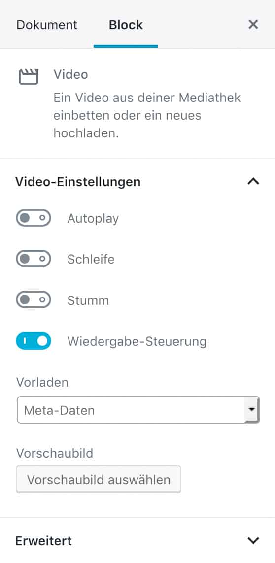 Screenshot der Video-Einstellungen in der Seitenleiste.