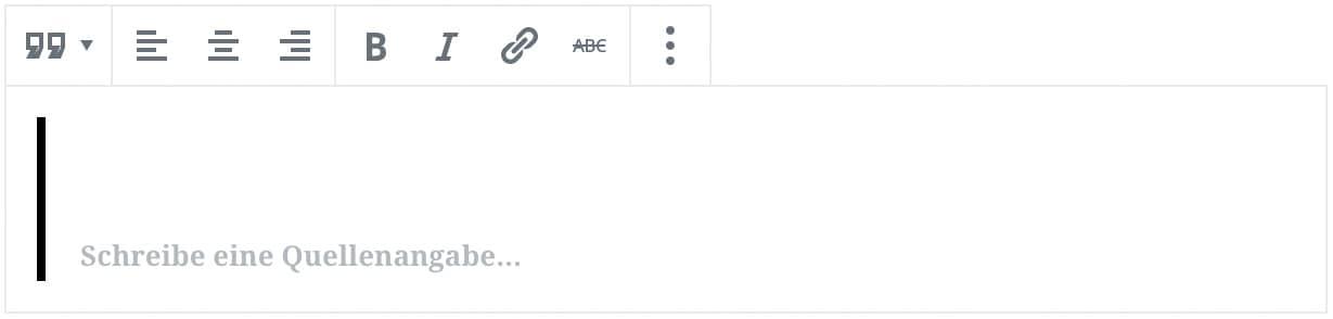 Screenshot des Zitat-Blocks, ohne das Inhalt hinzugefügt wurde.
