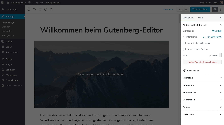 Screenshot des neuen WordPress Block-Editors. Die Seitenleiste ist hervorgehoben.
