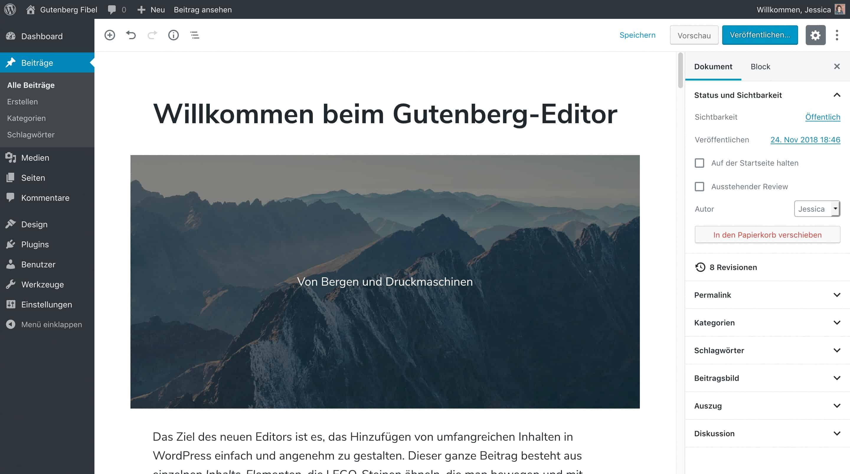Ein Screenshot des neuen WordPress Block-Editors. Es zeigt einen Beispiel-Beitrag.