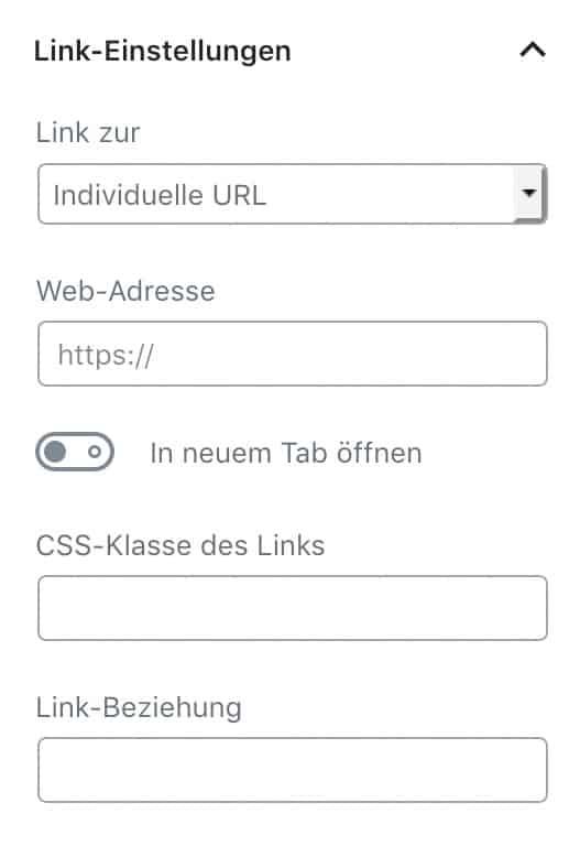 """Screenshot der Link-Einstellungen für ein Bild, wenn bereits ein Bild hochgeladen wurde. Unter """"Link zur"""" ist """"Individuelle URL"""" ausgewählt, alle anderen Felder sind leer."""