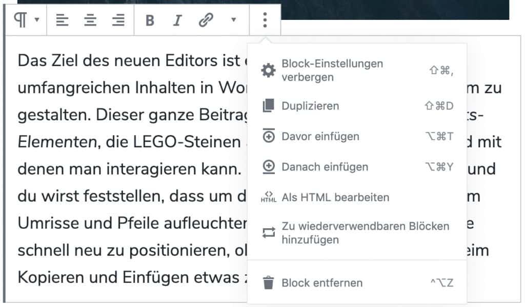 Screenshot eines Ausschnittes, dass das Fenster für das erweiterte Menü an einem Absatz-Block geöffnet zeigt.
