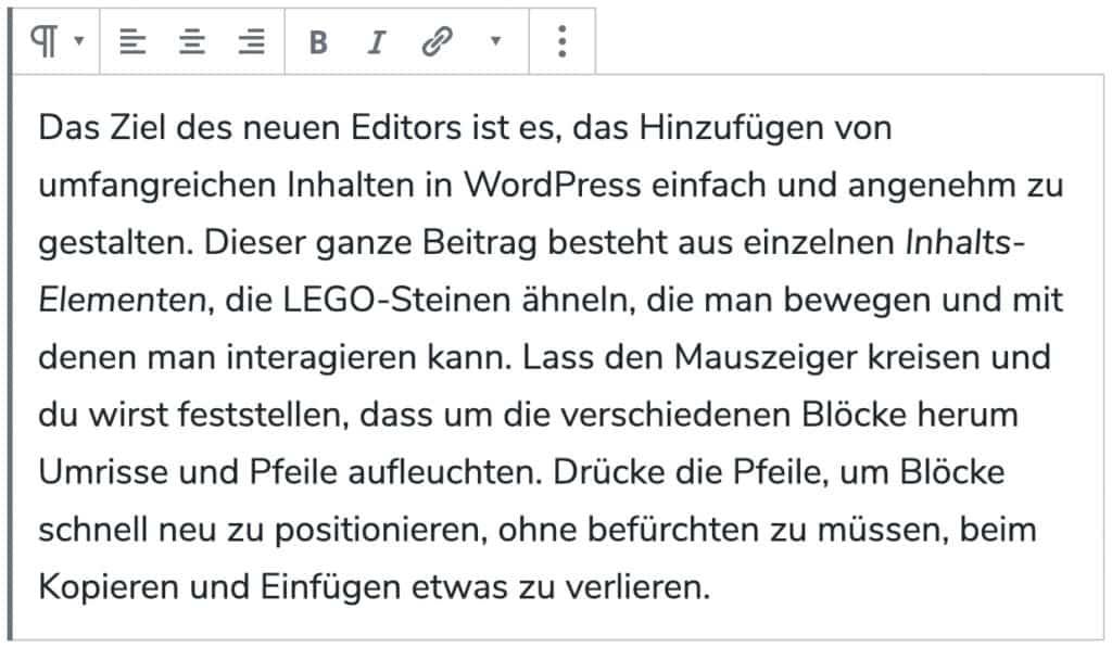 Screenshot des Absatz-Blocks, mit einem hinzugefügtem Beispieltext.