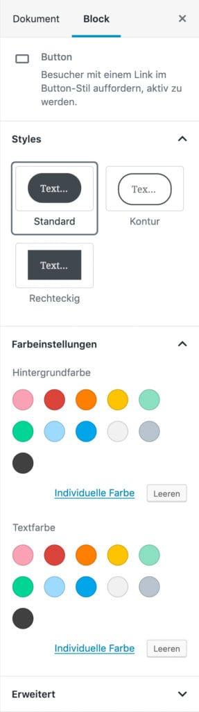 Screenshot der Button-Einstellungen in der Seitenleiste.