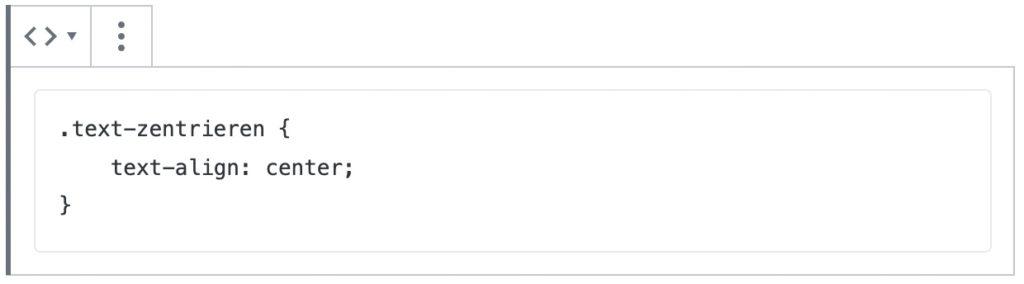 Screenshot des Code-Blocks, mit einem Beispiel-Inhalt eines CSS-Befehls.