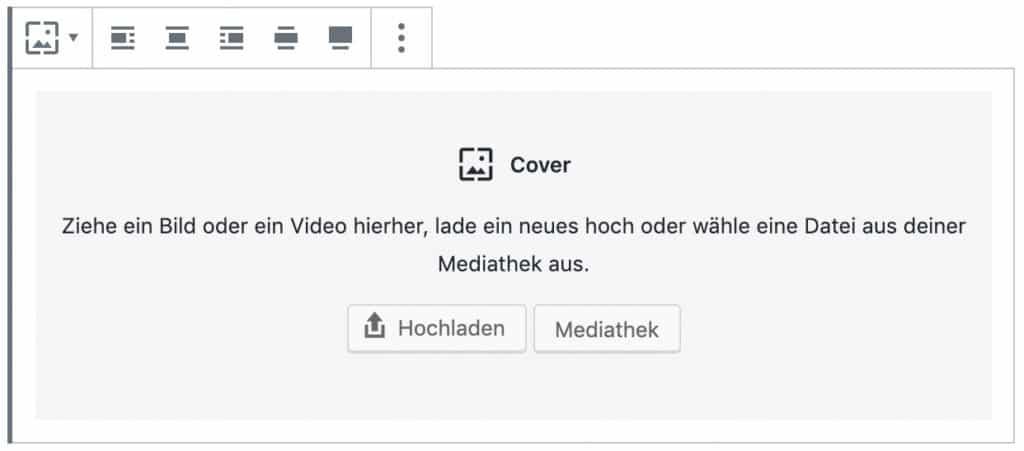 Screenshot des Cover-Blocks, ohne das Inhalt hinzugefügt wurde.