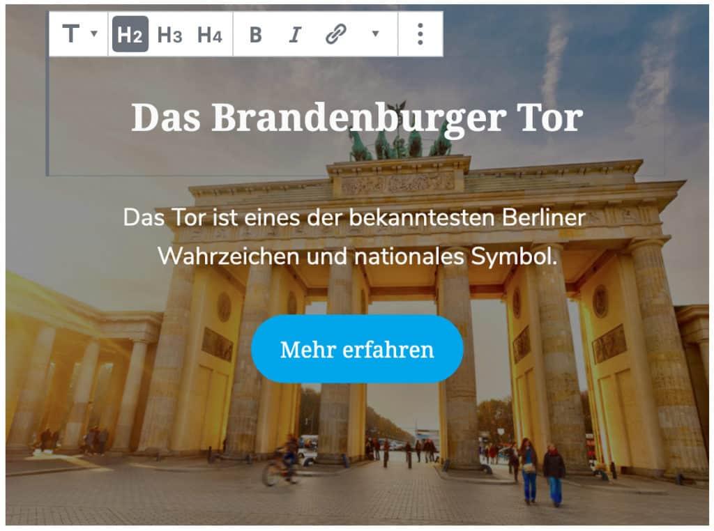 Screenshot des Cover-Blocks, bei dem die hinzugefügte Überschrift auf dem Cover bearbeitet wird. Zusätzlich zur Überschrift ist ein Text und ein Button zu sehen.