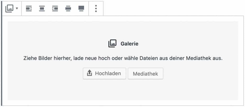 Screenshot des Galerie-Blocks, ohne das Inhalt hinzugefügt wurde.