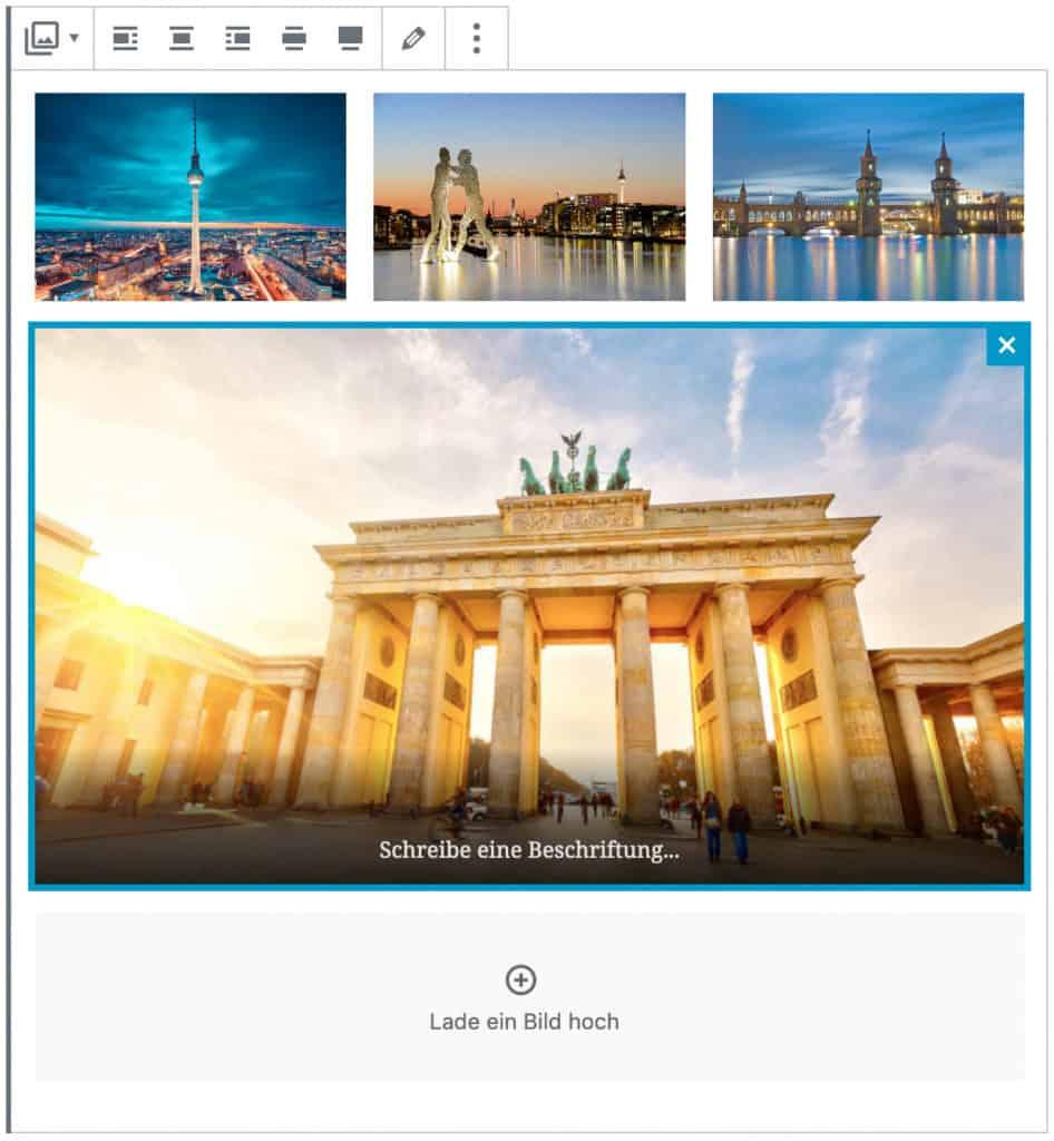 Screenshot des Galerie-Blocks, bei dem vier Beispielbilder Berliner Gebäude hinzugefügt wurden. Das unterste Bild ist im Fokus.