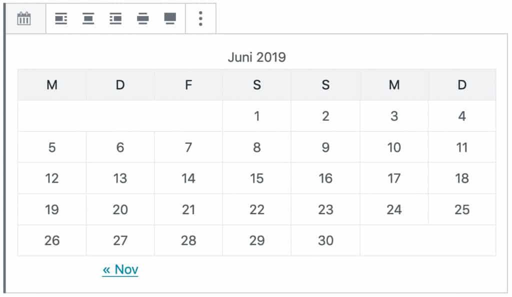 Screenshot des Kalender-Blocks. Dargestellt wird eine tabellarische Übersicht von Juni 2019.
