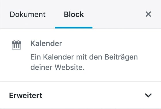 Screenshot der Kalender-Block-Einstellungen in der Sidebar.