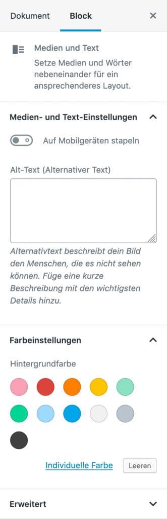 Screenshot der Medien-und-Text-Einstellungen in der Seitenleiste.