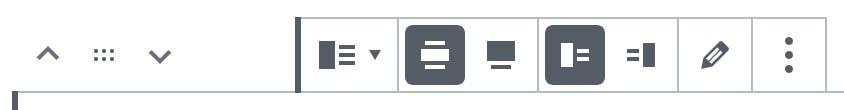Screenshot der Werkzeugleiste mit den sich links davon befindlichen Elementen zum Verschieben des Blocks.