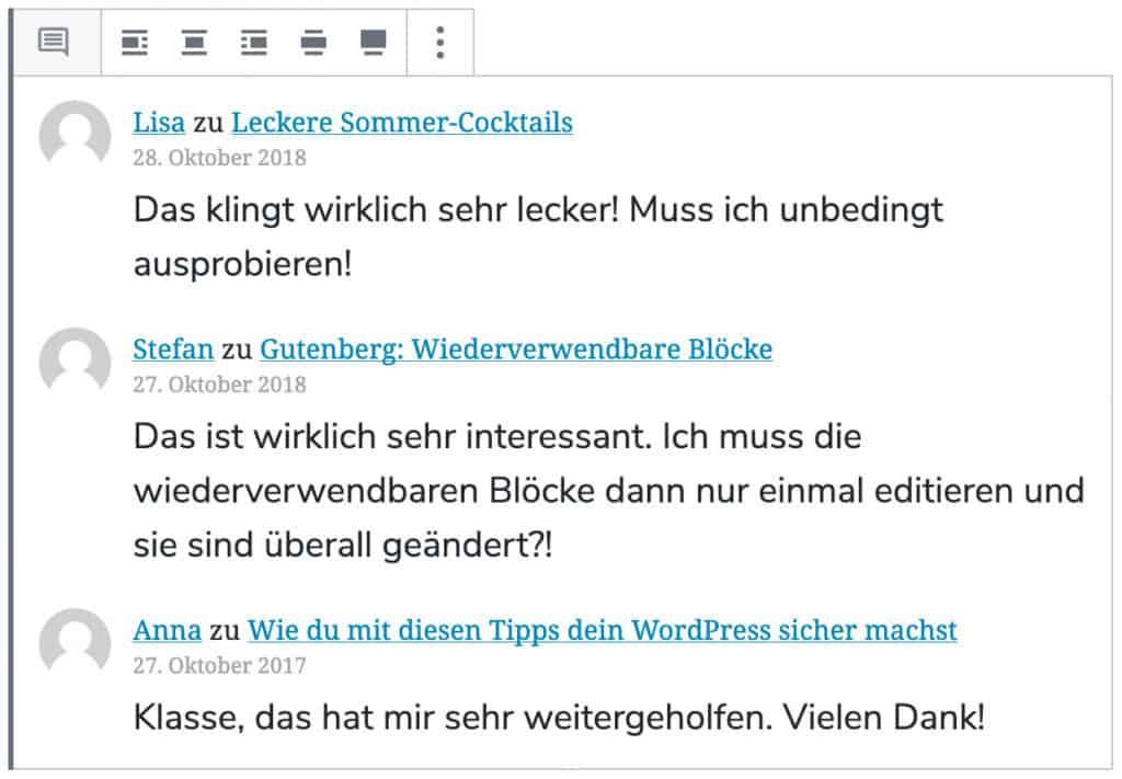 Screenshot des Neue-Kommentare-Blocks, mit drei Beispiel-Kommentaren.