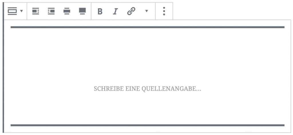 Screenshot des Pullquote-Blocks, ohne das Inhalt hinzugefügt wurde.
