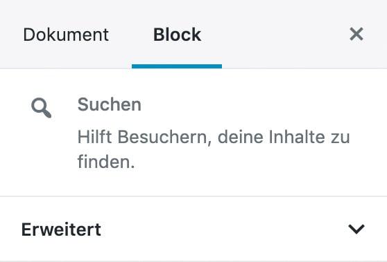 ccc9fd5b2f Der Suchen-Block hat keine weiteren Einstellungen.