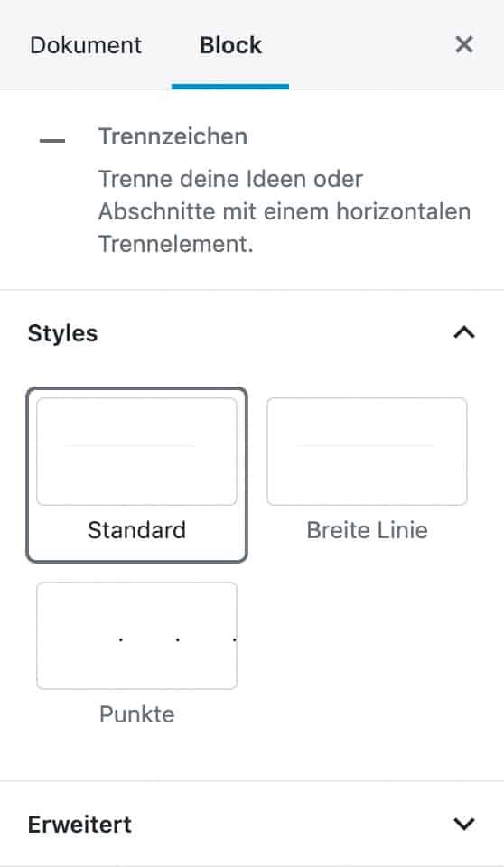 Screenshot der Trennzeichen-Einstellungen in der Seitenleiste.