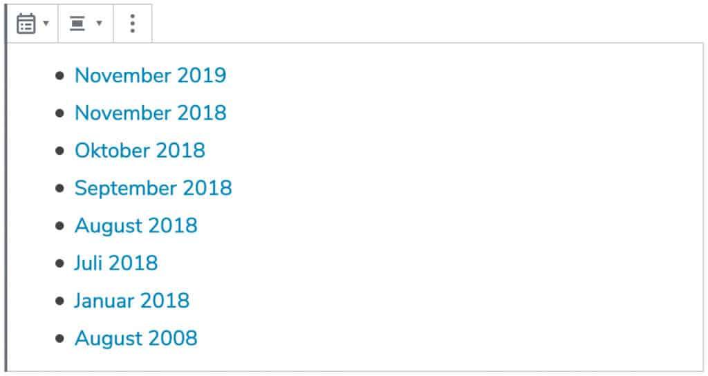 Screenshot des Archive-Blocks, mit einer Beispiel-Liste.