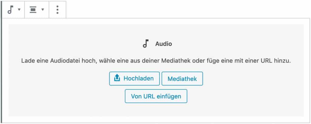 Screenshot des Audio-Blocks, ohne das Inhalt hinzugefügt wurde.
