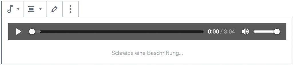 Screenshot des Audio-Blocks, nachdem eine Datei hinzugefügt wurde.