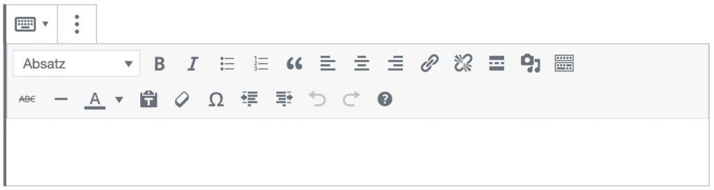 Screenshot des Classic-Blocks, ohne das Inhalt hinzugefügt wurde.