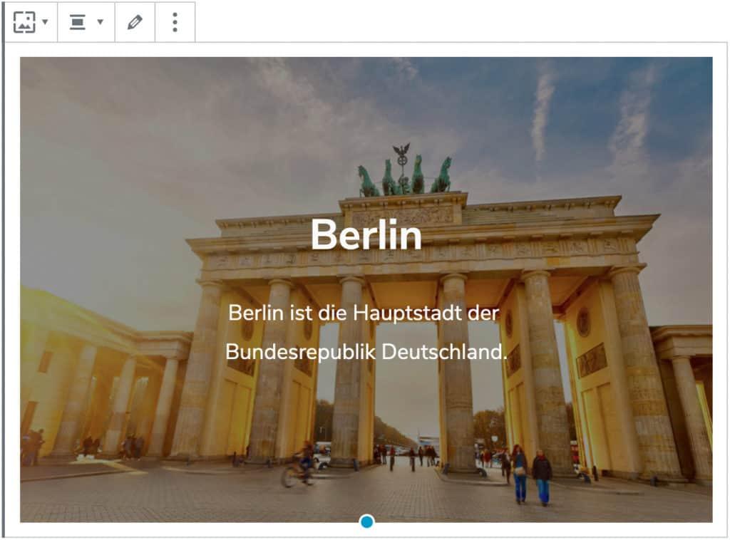 """Screenshot des Cover-Blocks, nachdem ein Bild des Brandenburger Tors sowie die Überschrift """"Berlin"""" und ein kurzer Text hinzugefügt wurde."""