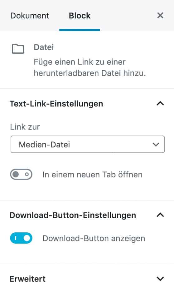 Screenshot der Datei-Einstellungen in der Seitenleiste.