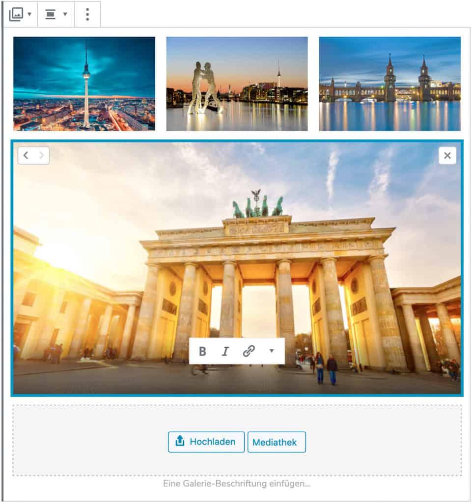 Screenshot des Galerie-Blocks, bei dem vier Beispielbilder Berliner Gebäude hinzugefügt wurden. Das untere Bild ist im Fokus, alle Editier-Optionen werden angezeigt.