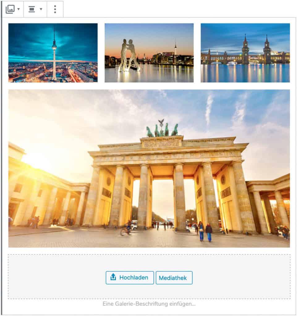 Screenshot des Galerie-Blocks, bei dem vier Beispielbilder Berliner Gebäude hinzugefügt wurden.
