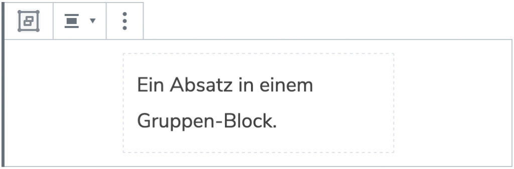 Screenshot eines Gruppen-Blocks mit einem hinzugefügten Absatz.