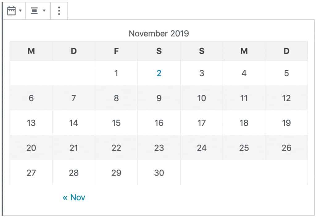 Screenshot des Kalender-Blocks. Dargestellt wird eine tabellarische Übersicht von November 2019.