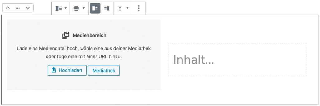 Screenshot des Medien-und-Text-Blocks, ohne das Inhalt hinzugefügt wurde.