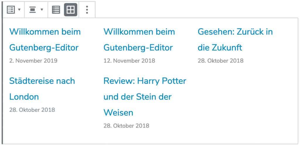 Screenshot des Neueste-Beiträge-Blocks, mit Beispiel-Beiträgen in der Rasteransicht.