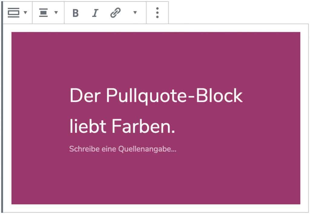 Screenshot des Pullquote-Blocks, nachdem ein Zitat hinzugefügt wurde und der Stil geändert wurde.